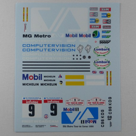 1/24 Decal MG Metro 6R4 Gp B Computervision Tour de Corse 1986, Profil 24