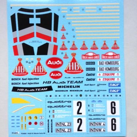 1/24 Audi Sport Quattro S1 1986 Monte Carlo Decals